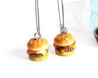 Food Earrings Burger Kawaii Jewelry Cheeseburger Fast Food Hamburger Retro Quirky Earrings Summer Barbecue Gift