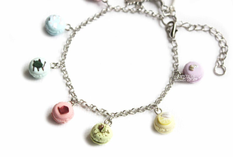 Food Bracelet French Macarons Pastel Jewelry Cute Charm Bracelet Pink Macaroons Rainbow Gifts For Wife Girlfriend Sister Gift