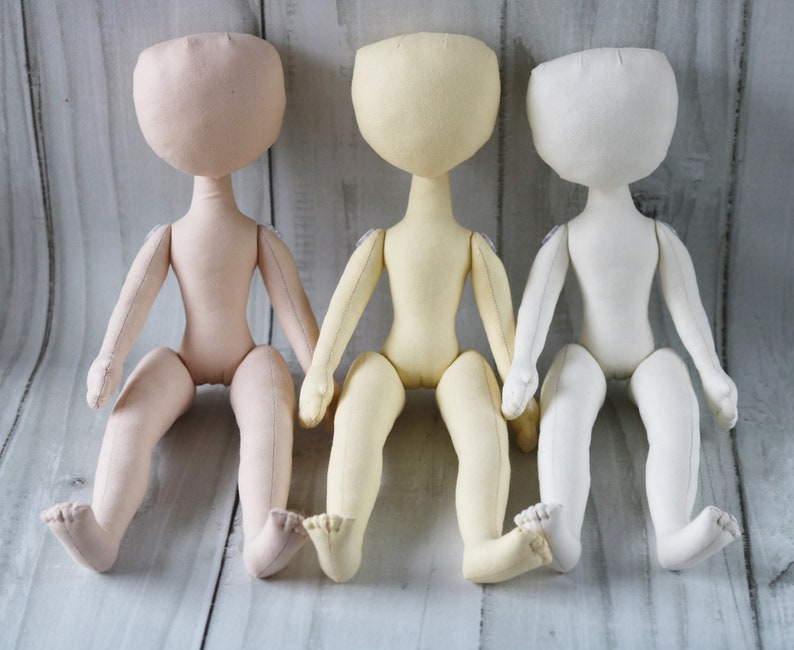 Set 3 dolls Blank doll body 12.9 in Doll body made of cloth An empty doll Yourself