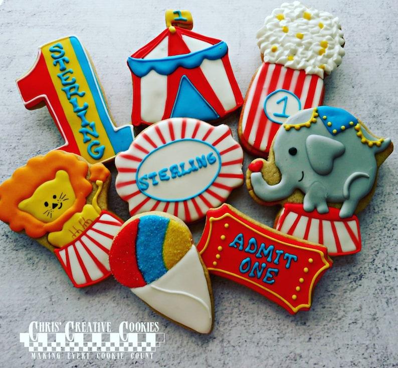 Happy Birthday Circus Set of Sugar Cookies    One dozen 12 image 0