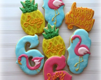 Happy Birthday Summer Set of Sugar Cookies! Flamingo, pineapple!   One dozen (12) Custom Decorated cookies