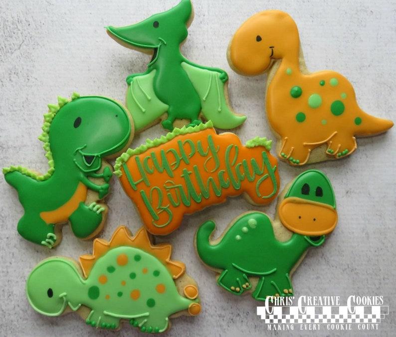 Dinosaur Birthday decorated Cookies one dozen 12 image 0