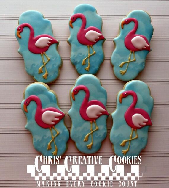 Pink Flamingo Cookies Galletas Personalizadas Decoradas Docena 12