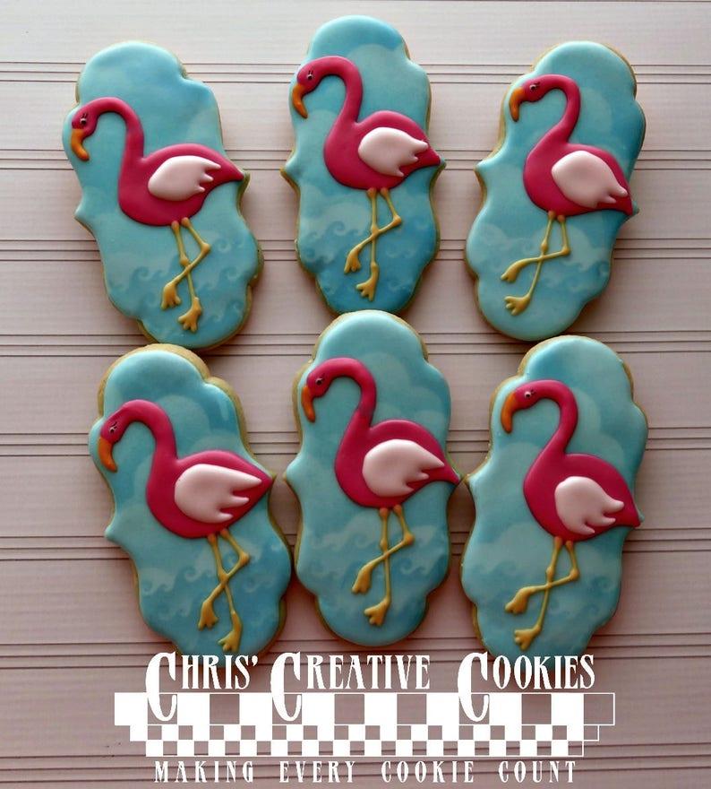 Pink Flamingo cookies One dozen 12 Custom Decorated cookies image 0