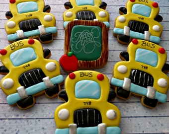 School Bus and Thank you Chalk board with apple!  one dozen sugar cookies, 12 cookies!