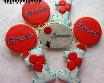 le Ballon Rouge - The Red Balloon themed Birthday cookies!  One dozen (12) Custom Decorated cookies