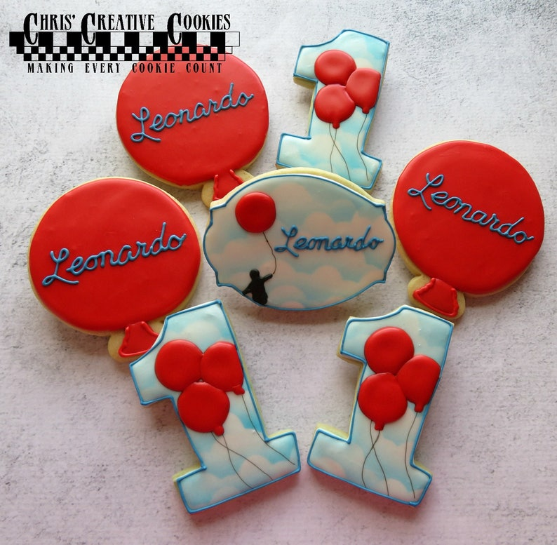 le Ballon Rouge  The Red Balloon themed Birthday cookies image 0