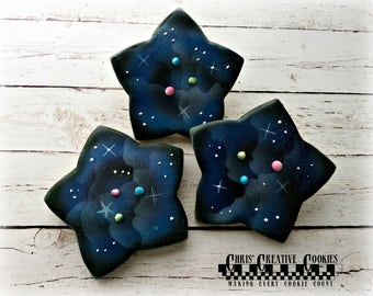 Galaxy Decorated Sugar Cookies ,  One Dozen (12 cookies), Out of this world! Can be personalized!