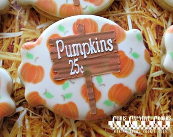 Pumpkin and Hay Ride cookies! One Dozen (12) cookies, perfect for your fall get together!