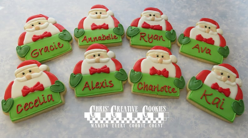8 Custom Santa cookies for placards gift tags  or stocking image 0