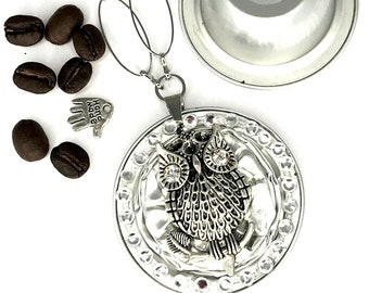 """upcycling*Owl*Coffee - capsule*long necklace*with a great owl medallion""""Jewelry""""Necklace*Chain pendant*"""