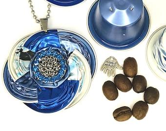 "Glitter*Nespresso*long necklace*Medallion""Jewelry""Necklace*Gift*Birthday*Ball chain*Ladies*Women*Closure*"