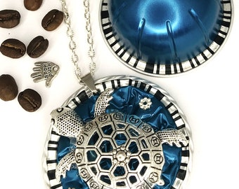 """upcycling Turtle*mediteran*Nespresso®Vertuo capsule*long necklace*medallion""""Jewelry""""Necklace*Gift*Birthday*Chain Pendant*"""