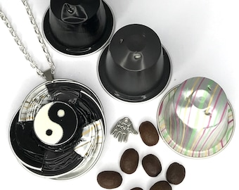 """YingYang*Nespresso*Long Necklace*Medallion""""Jewelry""""Necklace*Gift*Birthday*Link Chain*Ladies*Women*Closure*"""