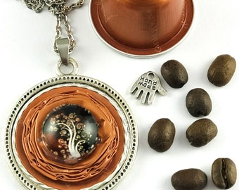 """Tree of Life*Nespresso*Long Necklace*Medallion""""Jewelry""""Necklace*Gift*Birthday*Ball Chain*Ladies*Women*Closure*"""