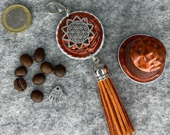 upcycling from Nespresso® coffee capsules*Keychain*Pocket ring*Celtic knot*Jing Jang*Flower of life*Tree of Life*