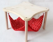 """hammock holder with 1 hammock """"red with white dots"""" for guinea pigs"""