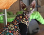 Cat Clothes Dia De Los Muertos Clothing for Sphynx Cats. Soft jersey fabric w choice of style and sleeves. Supermodel Bella, Meowloween