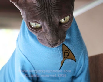 Sphynx cat clothes, Cat Trek Shirt, Cat Costume, Costumes for Pets, Spock Shirt for Cats, Starship Crew Members, LARP for Naked Cats
