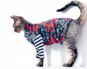 Pet Clothes, The GOTHIC KITTY in Red Sugar Skulls. Sphynx Cat Clothes, Pet Gift, Dia De Los Muertos, Pet Costume. Fleece Tank Body