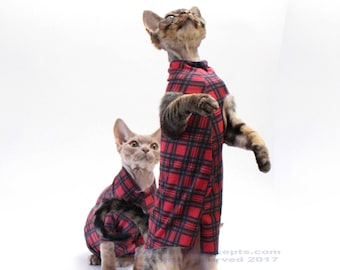 Sphynx Clothes for Cats, Red Plaid Tank Top, Cat Sweater, See Item Details for more colors & styles. Dog clothes, Jersey Tank PLCY