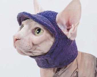 Sphynx Cat Kitten Hat for a Cat! The Kitty Cat Cap Hat in Purple Fleece, hat they will actually wear everyday or costume