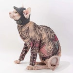 Sphynx Cat Clothes - Purple Butterfly Tattcat™ Long Sleeved Shirts -  Pet Shirts -  now you can get tattoo sleeves for your cat