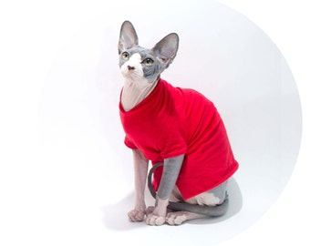 Cat Clothes charming T-Shirt in red, sphynx cat clothes, Cat sweater short or long sleeves. Stock Jersey T-Shirt