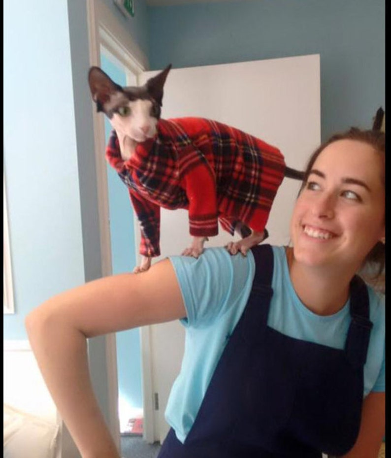 Long sleeved cat jacket Sphynx cat clothes Emma's plaid image 0