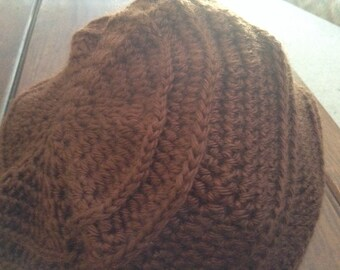 Crochet Beanie/Slight Slouch Hat, Brown or Beige, 1 size fits all