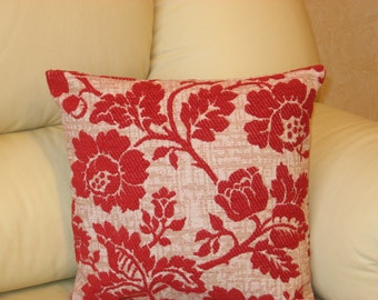 "Red - beige - flowery - chenille - luxury - handmade -  - throw pillow - pillow - cushion - cover - 33 cm x 33 cm (13"" x 13"")"