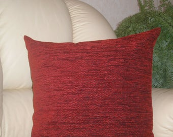 "Burgundy - dark red - decorative - chenille - luxury - handmade - throw pillow - cushion - cover - 45 cm x 45 cm (18"" x 18"")"