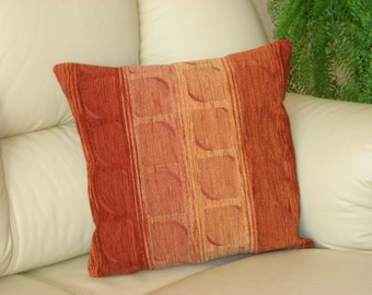 "Orange  brown decorative chenille luxury handmade throw pillow  cushion cover. 45 cm x 45 cm(18"" x 18"")"