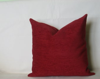 "Burgundy - dark red - decorative - chenille - luxury - handmade - throw pillow - cushion - cover - 18"" x 18"" (45 cm x 45 cm)"