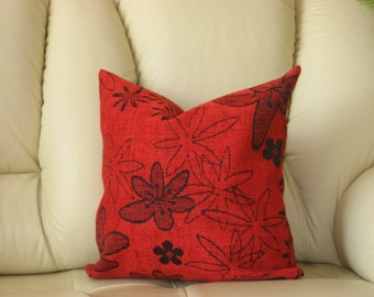 "Red - dark red - black - flowery - decorative - chenille - luxury - handmade - throw pillow - cushion - cover - 40 cm x 40 cm (16"" x 16"")"