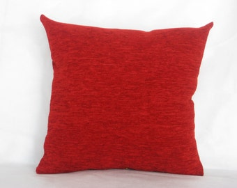 "Red - chenille - luxury - handmade -  - throw pillow - pillow - cushion - cover - 45 cm x 45 cm (18"" x 18"")"