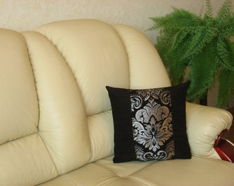 "Dark brown and silver  Chenille Luxury Handmade Throw pillow Cushion Cover 39 cm x 39 cm (15"" x 15"")"