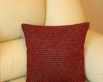 "Burgundy - dark red - gold - decorative - chenille - luxury - handmade - throw pillow - cushion - cover - 40 cm x 40 cm (16"" x 16"")"