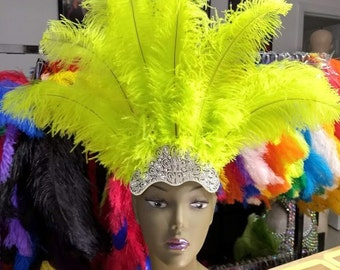 8f852b335f0 Carnival FEATHERS Open Face New Rhinestone Crown Ostrich Floss Feathers  headpiece height is approx. 12