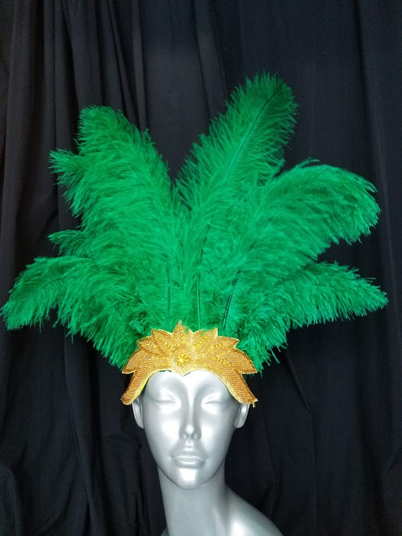 Showgirl sweet Pink Ostrich feathered headdress with iridescent beaded cap