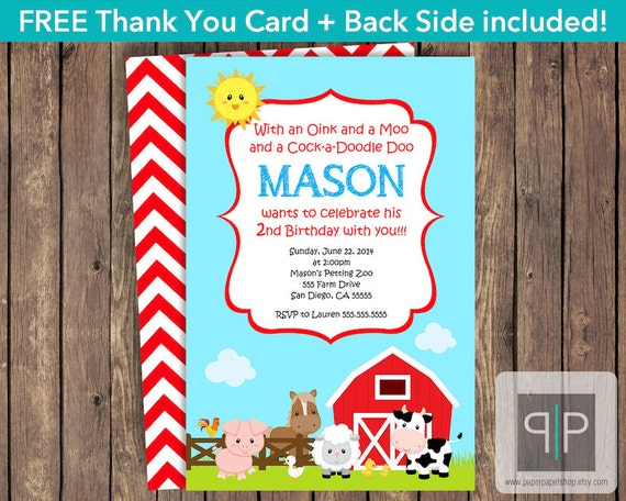 Farm Animals Birthday Invitation Petting Zoo Theme Invite Free Thank You Card P16