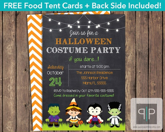 instant download halloween costume party invitation editable