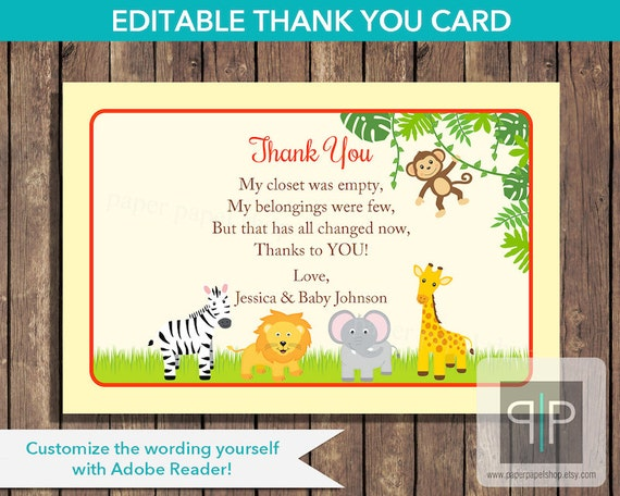 Instant Download Editable Jungle Baby Shower Thank You Card