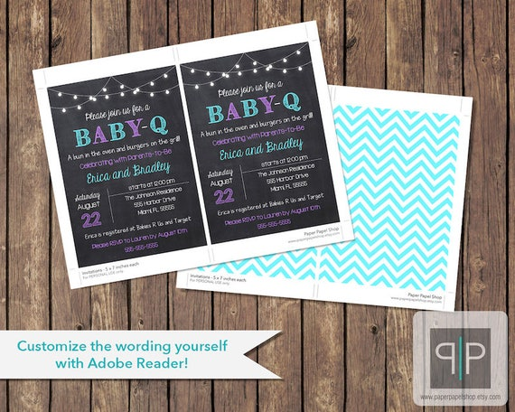 instant download baby q invitation editable gender neutral etsy