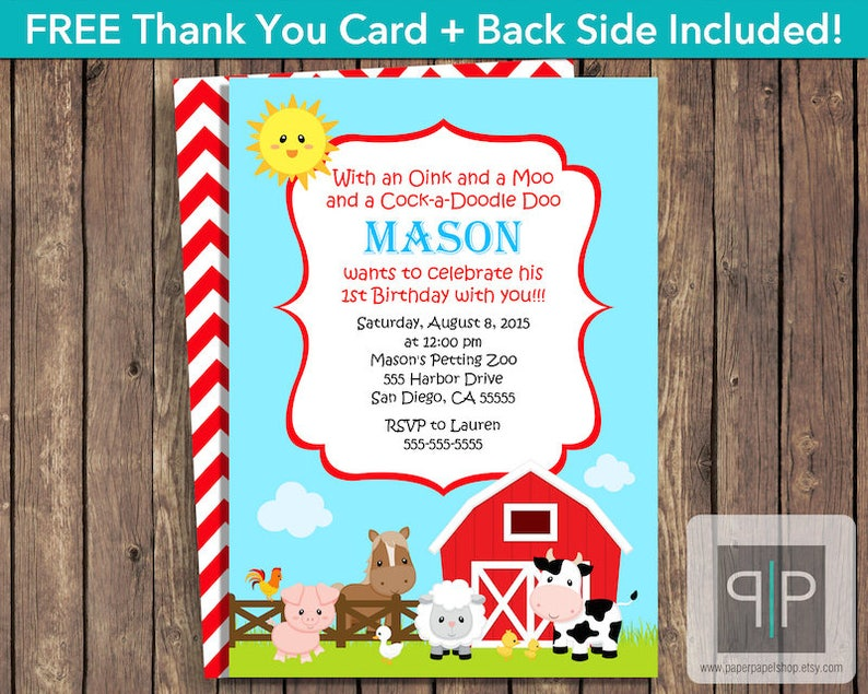 INSTANT DOWNLOAD Farm Animals Birthday Invitation Editable