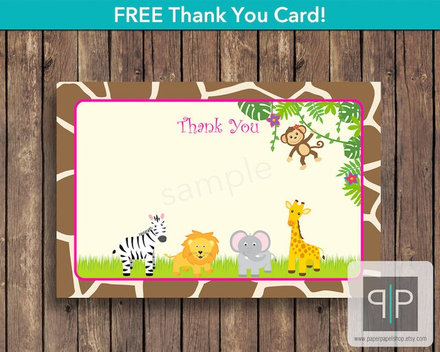 Jungle Birthday Invitation Photo Girl Zoo Safari Free Thank You Card