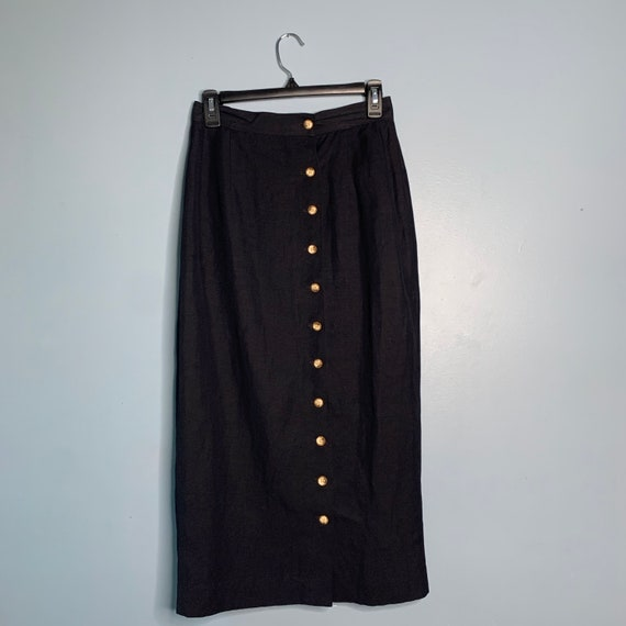 Vintage Black Linen Button Front Skirt