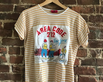 yellow and white striped vintage t shirt by Jean-L'Moore