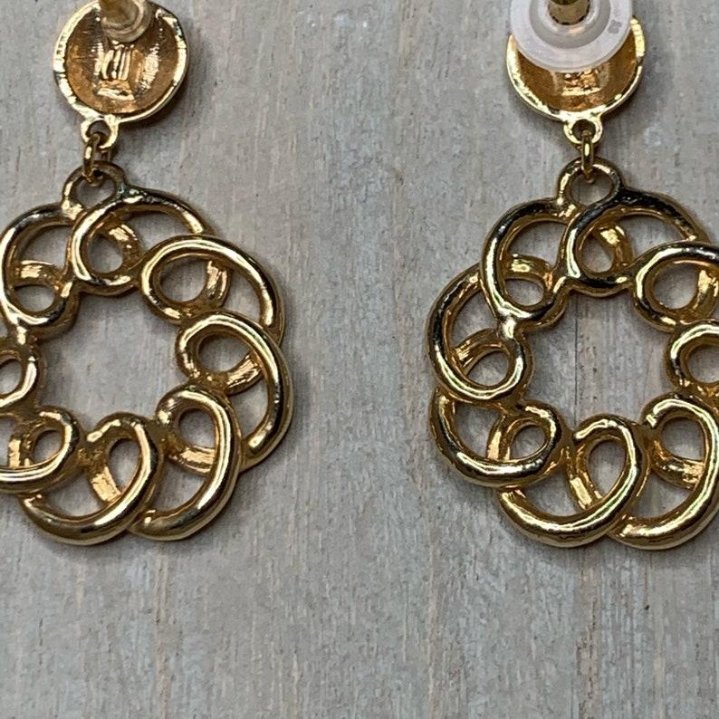 Vintage Gold Circle Swirl Push Back Drop Earrings