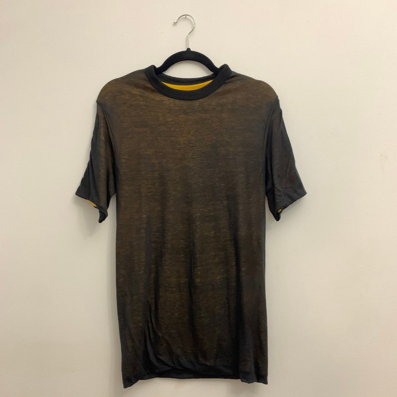 Black and Yellow Vintage Double Layer Reversible T-Shirt